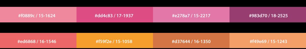 De 8 pantonefarver i Shimmering sunset