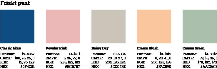 Forslag til brug af årets pantone farve